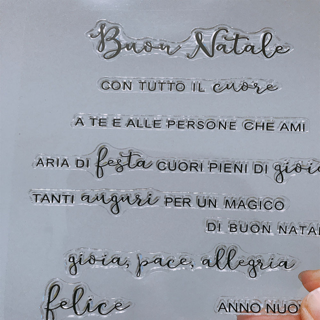 italian words letter transparent clear silicone stamp seal for
