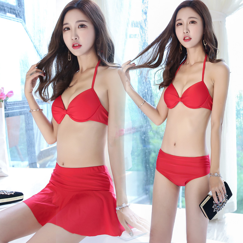 2017 Summer new Sexy letters cover-ups Four pieces swimsuit Red Push Up skirt bikini swimwear beach women bathing suits