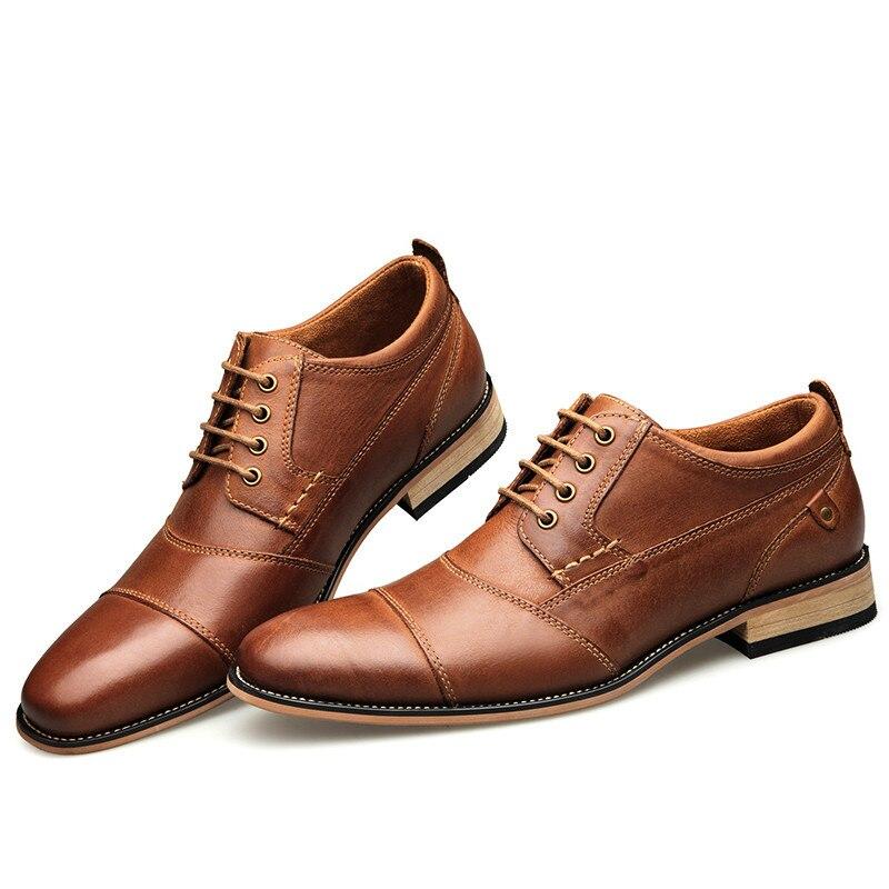 Nouveaux hommes chaussures habillées chaussures formelles à la main chaussures d'affaires chaussures de mariage grande taille en cuir véritable chaussures à lacets mâle 0249