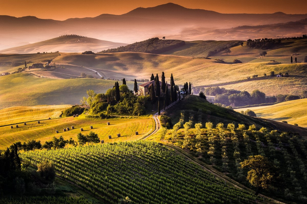 Tuscany Italy fields hills trees sunrise morning nature landscape 478FJ living room home wall art decor wood frame poster