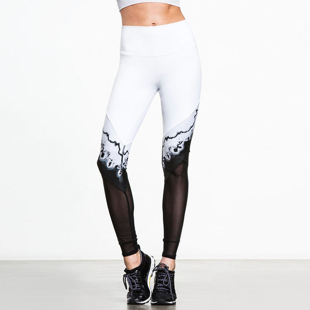 af298e9649f45f Fashion Black/White Patchwork Mesh Legging High Waist 3D Floral Printed  Slim Pencil Sporting Pants Workout Exercise Sexy Jegging