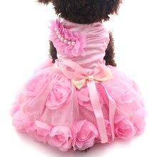 Платье принцессы для собак; платье-пачка с розочками и бантом; юбка для кошек и щенков; сезон весна-лето; одежда; 2 цвета