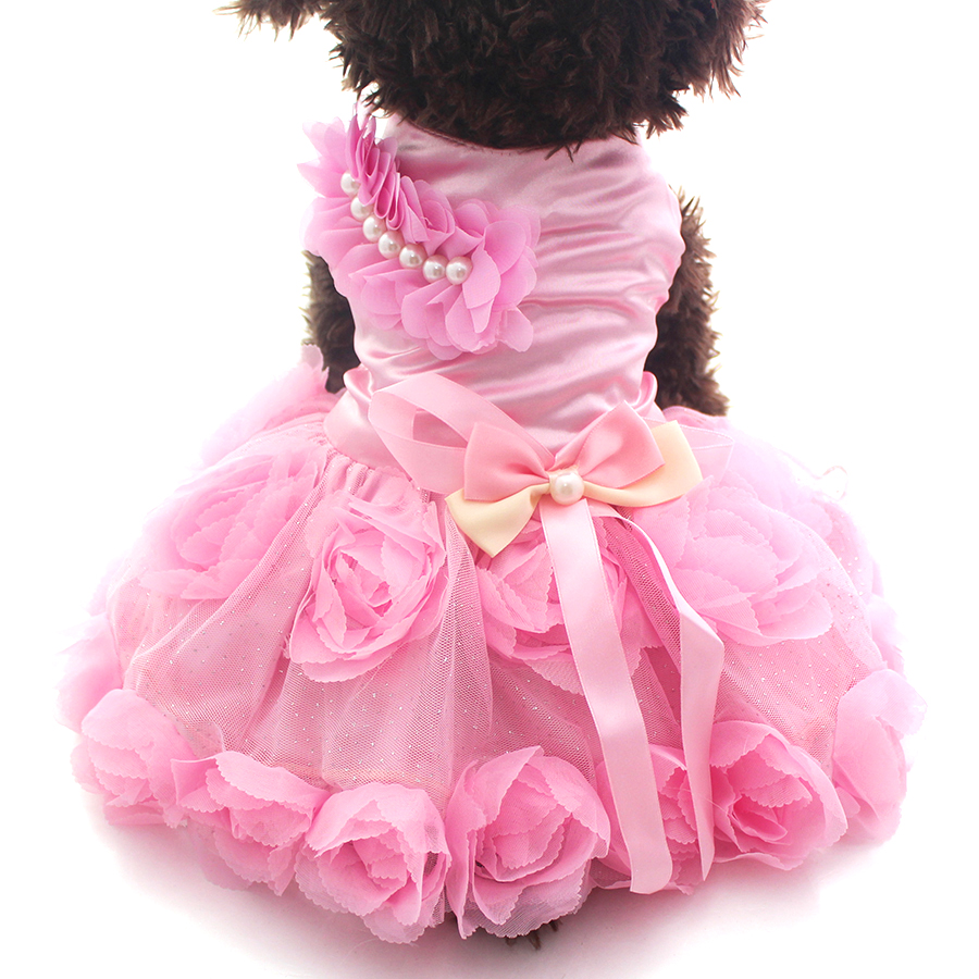 Pet Dog Princess Dress Rosette Tutu & busur Dresses Cat Puppy Skirt Spring / Summer Pakaian Pakaian 2 warna