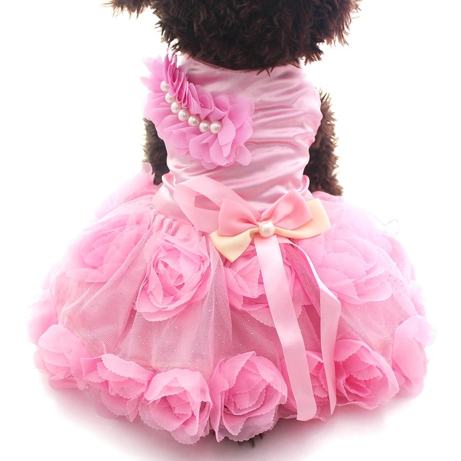 पालतू कुत्ता राजकुमारी ड्रेस टूटू रोज़ेट और धनुष कपड़े बिल्ली पिल्ला स्कर्ट वसंत / ग्रीष्मकालीन कपड़े परिधान 2 रंग