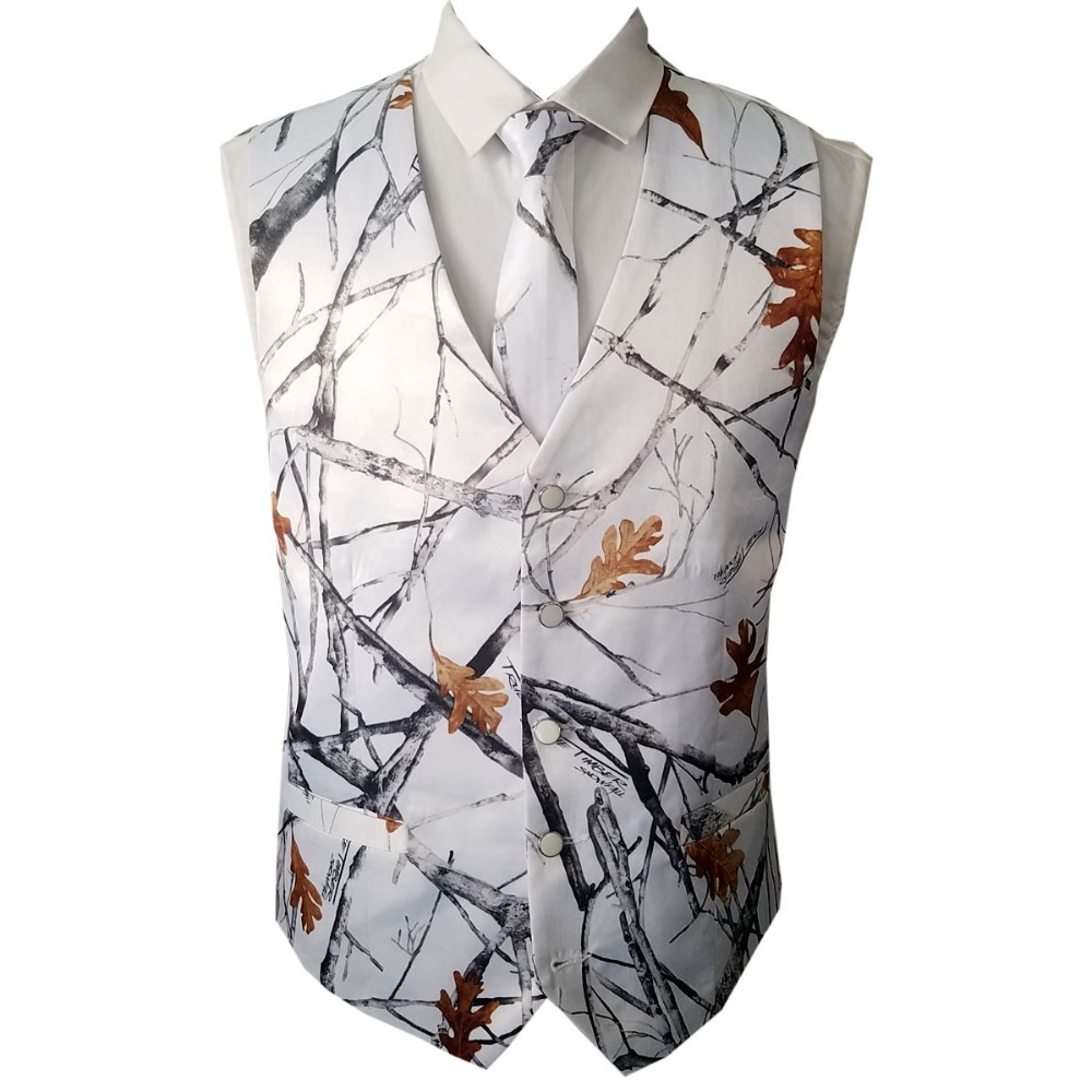 Bright White Camouflage Vests And Tie For Wedding Groom Wear Camo Prom Vests Custom Make Free Shipping