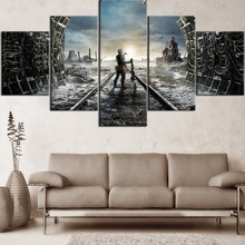 HD Printing 5 Pieces Top-Rated Canvas Painting Games Metro Exodus Type Poster Home Decorative Living Room Or Bedroom Framework