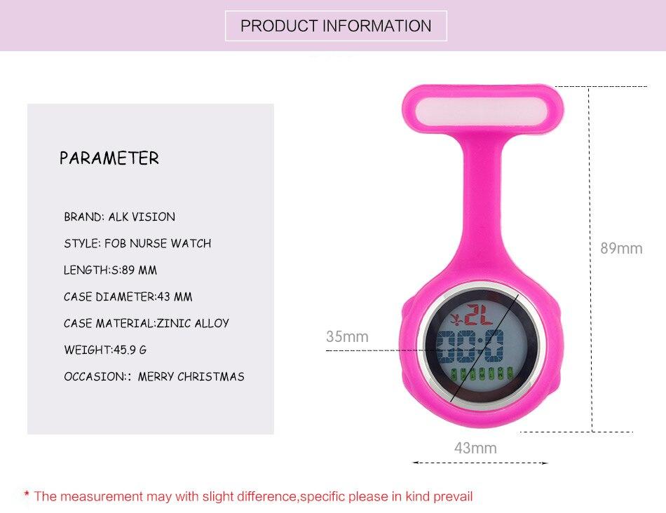 2019 ALK Digital Silicone nurse watch fob pocket watch doctor nurse timepiece brooch lapel Medical Nurse Watch Quartz with Clip 9