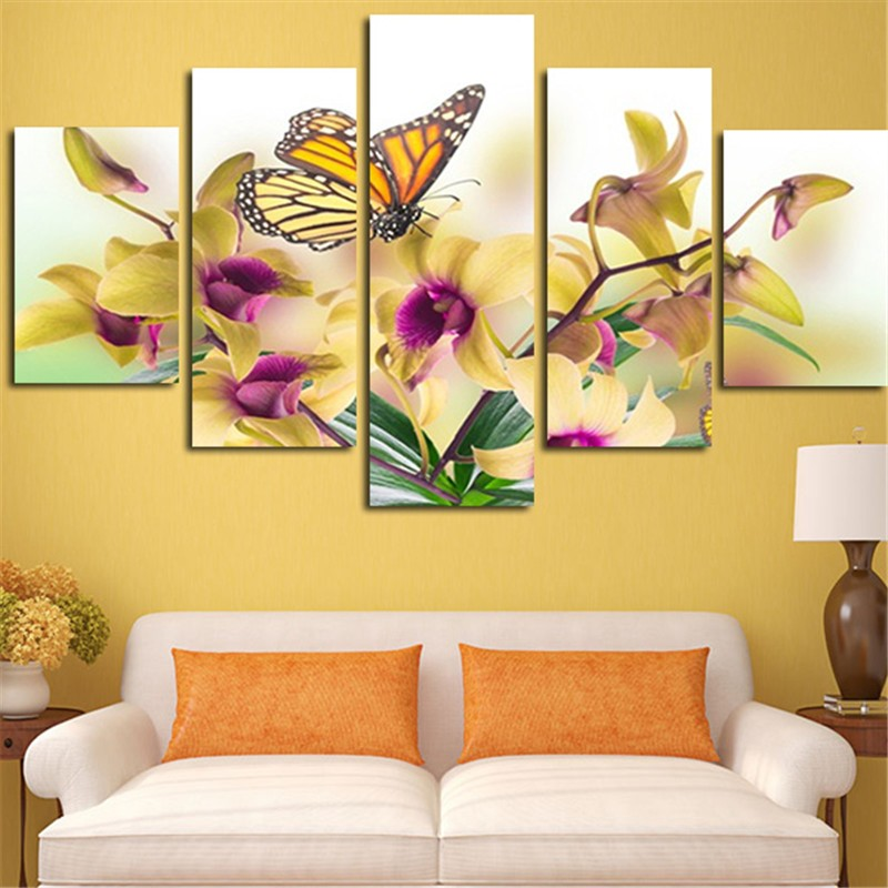 5 Panel Large Modern Flower Butterfly Canvas Oil Painting Cuadros ...