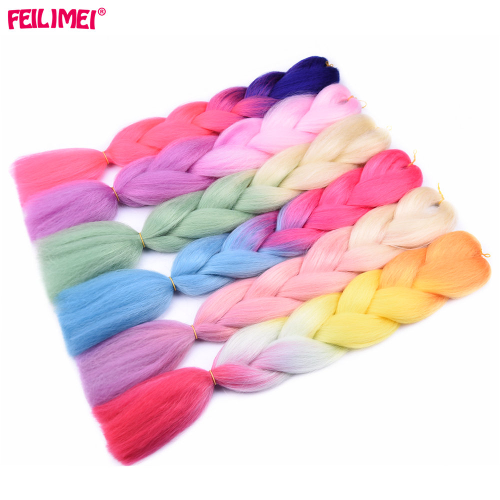Hair Extensions & Wigs Nice Feilimei Ombre Braiding Hair Extensions Synthetic Kanekalon Jumbo Braids 100g/pc 24inch Green/gray/purple/blue/black Hair In Short Supply Jumbo Braids