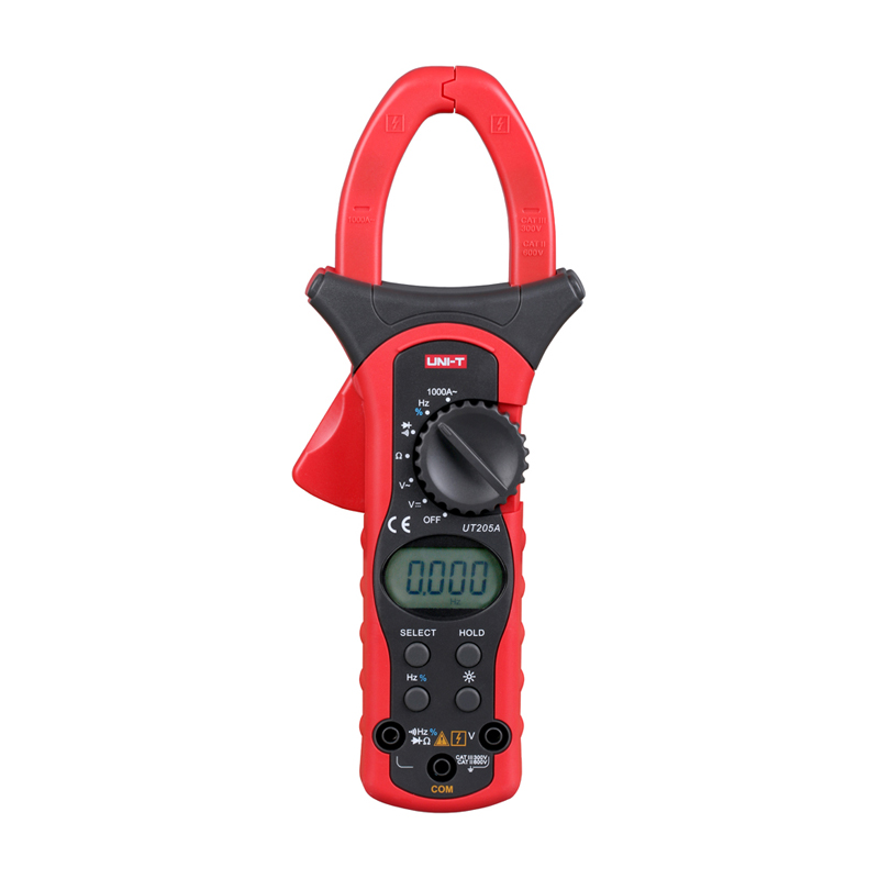 ФОТО UT205A 3 3/4 Digital Auto Range Digital Clamp Multimeters 1000A 600V Clamp Meter Unit Ammeter Voltmeter With LCD Backlight