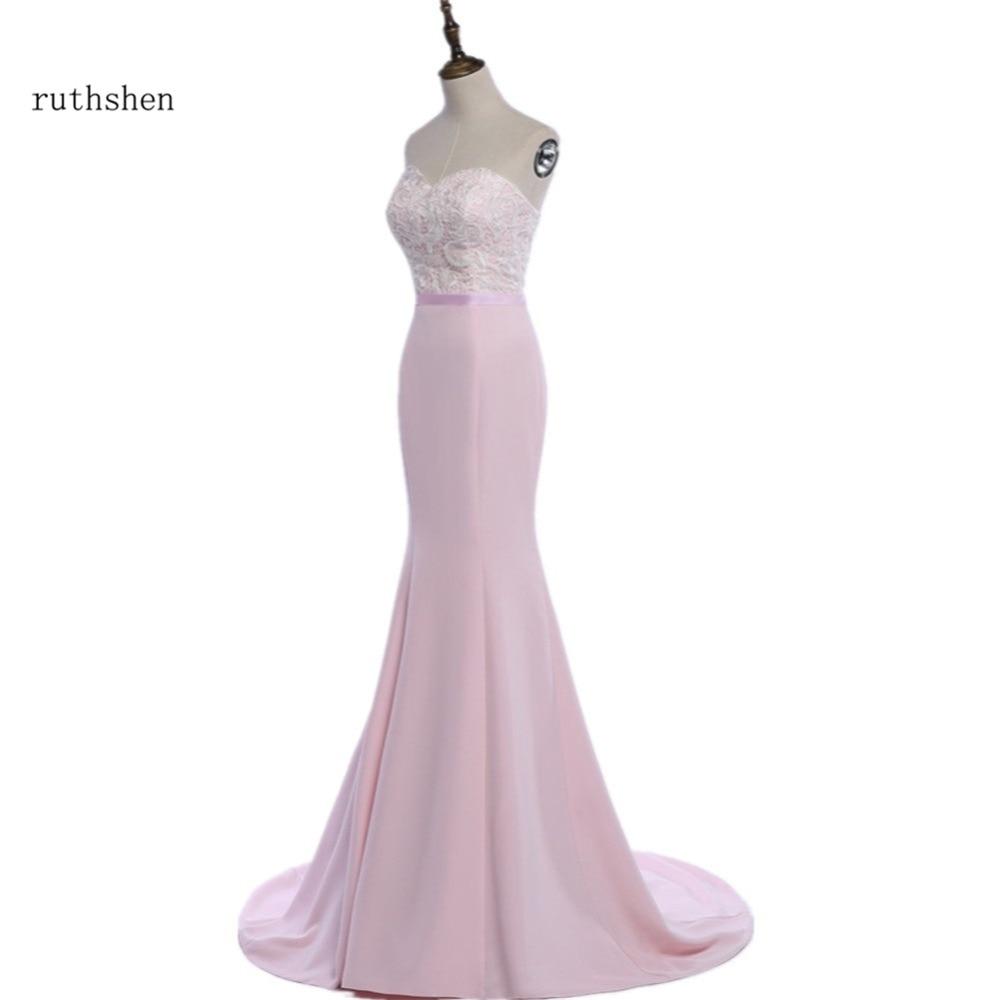 ruthshen Mermaid   Bridesmaid     Dresses   Cheap 2018 Lace Top Pink Wedding Guest Formal Party   Dress     Bridesmaids     Dress