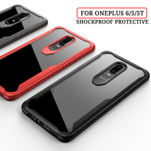 Shockproof Armor Phone Case For Oneplus 7 Pro Luxury Silicon Bumper Clear Transparent Cover 6 6T 5 5T TPU Cases