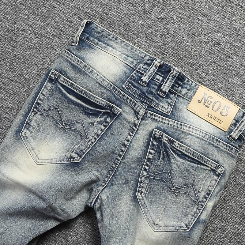 Vintage Design Fashion Men Jeans Stretch Slim Fit Elastic Cotton Denim Pants High Quality Classical Jeans For Men Ripped Jeans 4