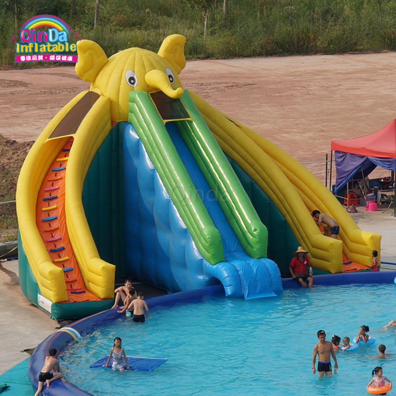 Commercial outdoor giant elephant inflatable water slide for swimming pool commercial inflatable water slide with pool made of pvc tarpaulin from guangzhou inflatable manufacturer