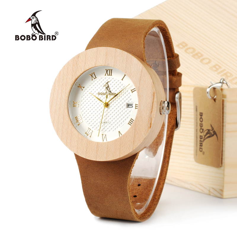 BOBO BIRD Women's Design Brand Luxury Wooden Bamboo Watches With Real Leather Quartz Watch relojes marea For Women Dress Watch bobo bird v o29 top brand luxury women unique watch bamboo wooden fashion quartz watches