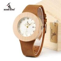 BOBO PÁSSARO De Bambu De Madeira da Marca de Design de Luxo das Mulheres Relógios Com Couro Real Relógio de Quartzo relojes marea Para As Mulheres Se Vestem relógio