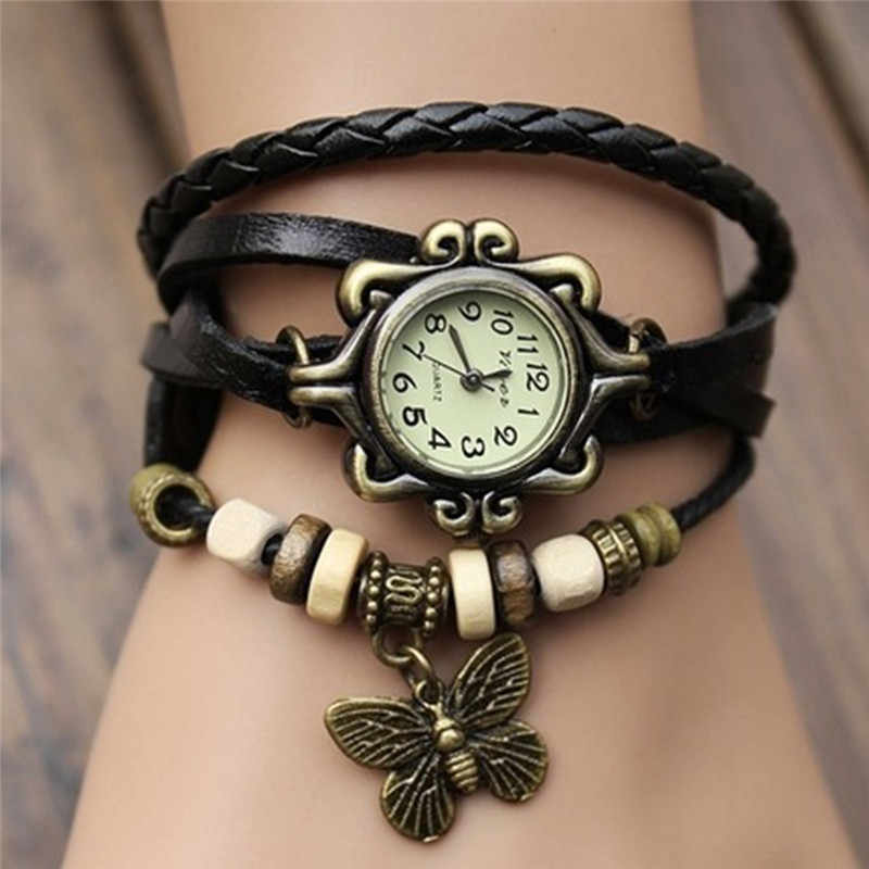 Black White Quartz Fashion Weave Around Leather Bracelet Lady Woman Wrist Watch Elegant Women Simple Outdoor Watch Woman Watch