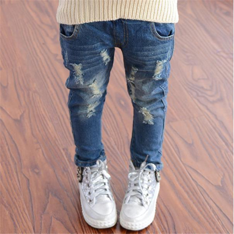 2018 Spring Autumn Baby Boys Girls Jeans Kids Broken Cool Washing Denim Pants Toddler Girls All Match Pants Children Clothes P01