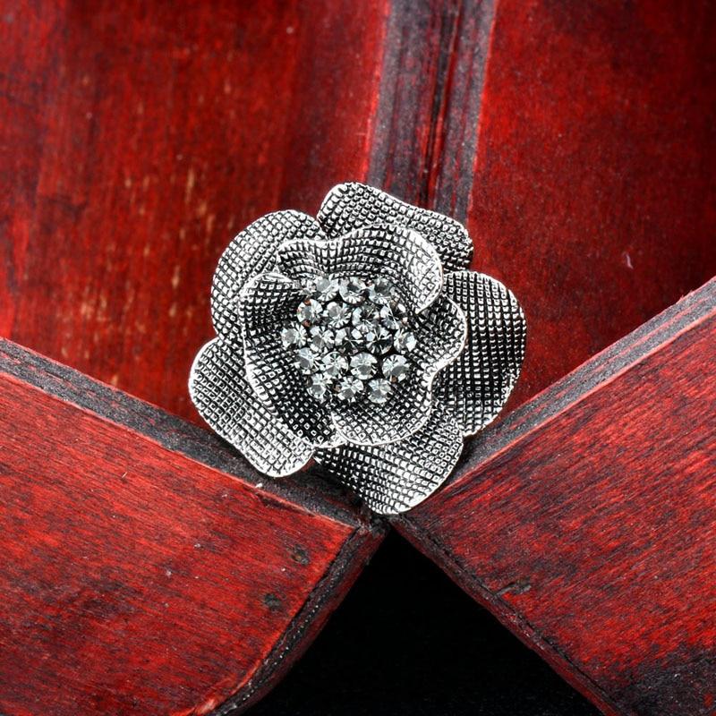 SINLEERY Vintage Big Black Ekte Cubic Zircon Flower Finger Rings - Mote smykker - Bilde 2