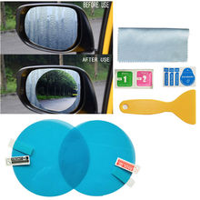 цены 2pcs Clear Sight Rearview Mirror Membrane Set Rainproof 9.5cm Car Anti Fogging Protective Film, with Wet Tissue Cloth Applicator