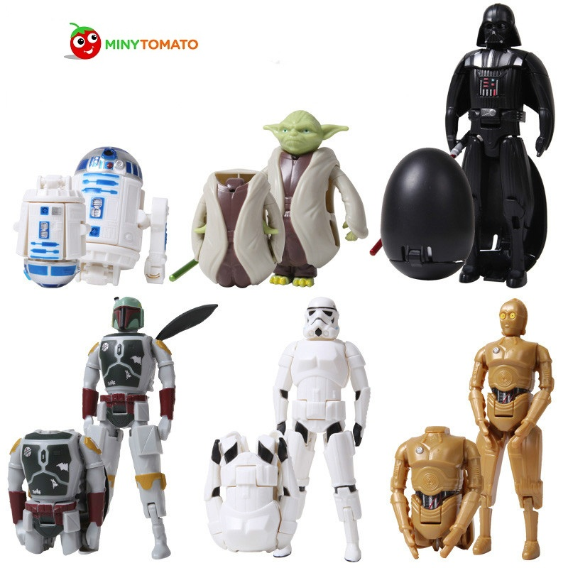 Free Shipping 6pcs/lot Deformed Egg Star War Transformation Robot Novelty Educational Toys BB8 The Force Awaken Yoda Darth Vader rollercoasters the war of the worlds
