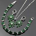Lan Prata Banhado Conjuntos de Jóias Verde Esmeralda Branco Topaz AAA Zircon Para Colar de Pingente/Brinco/Pulseira Para O Casamento