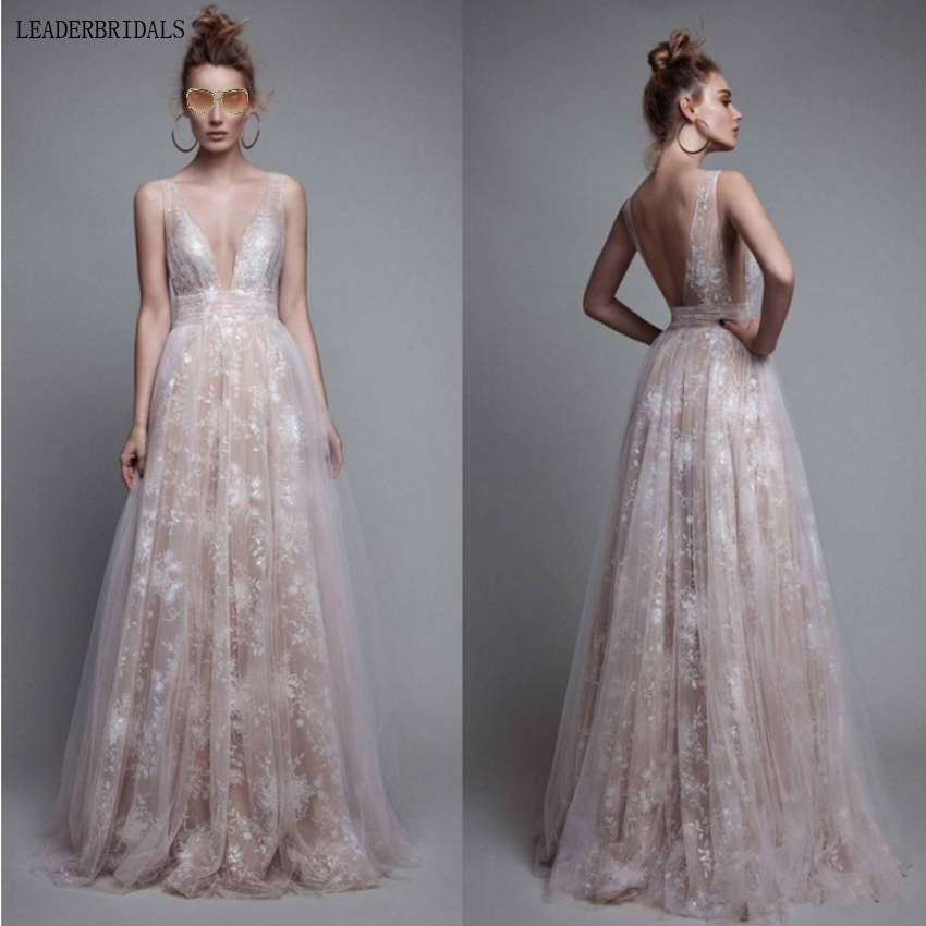 Lace Evening Dresses V Neck Tulle Ivory Nude Grey Blush -5149