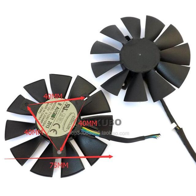 2pcs/lot NEW Original Graphics Video Card Fan For ASUS STRIX GTX960 GTX950 GTX750TI GTX 960 950 750TI T128010SH 12V 0.25A 4Pin