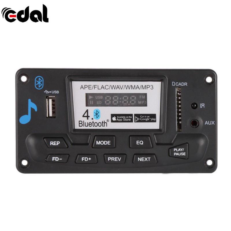 EDAL Bluetooth MP3 Decoding Board Module 12V DIY USB/SD/MMC APE FLAC WAV DAE Decoder Record MP3 Player AUX FM Folders Switch