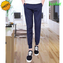 Top Quality 2016 Fashion Casual Beam Foot Trousers Slim Fit Cotton Drawstring Elastic Waist Men Harem Pants Track SweatPants