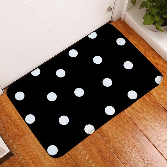 HomeMiYN New Bath Mat White Spots Black Bath Mats Rugs Door Mat Anti Slip Flannel Printed Rectangle Bathroom Footpad Floor Pads