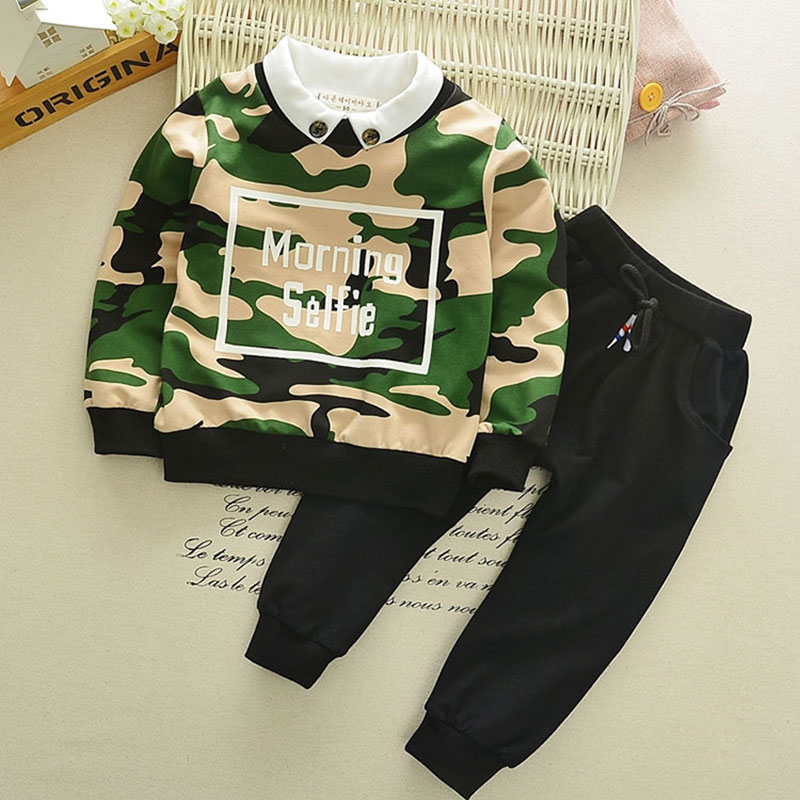 Spring boy baby clothes outfit sets sports camouflage suits for infant baby girls clothing brand design sleeve suit 2pcs sets double fleece camo suits fabric jungle camouflage hunting clothing sets for hunter clothes