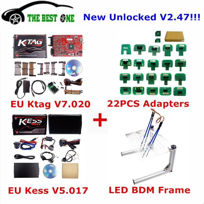 US $132.0 |Unlimit EU Red Kess V5.017 Ktag V7.020 Led Bdm Frame OBD2 on