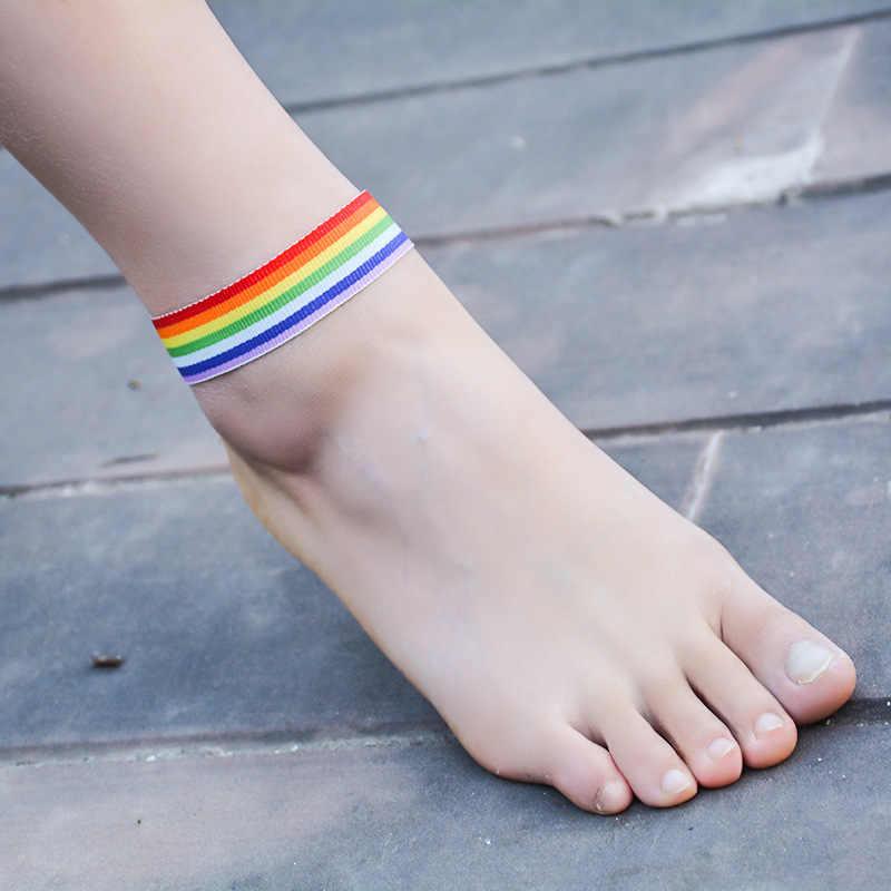 2018 Moda Renkli Gökkuşağı Zincir Şerit Halhal Yalınayak Zincir Erkekler Kadınlar Için Lezbiyen Biseksüel Eşcinsel Gurur Plaj Takı
