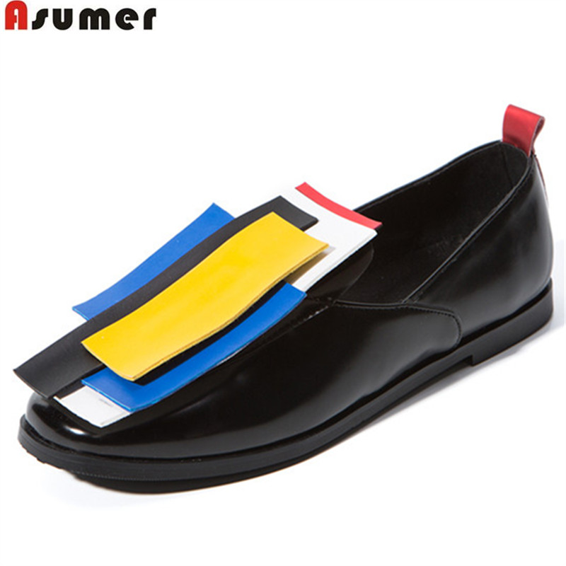 ASUMER black spring autumn flat shoes woman square toe shallow casual mixed colors women flats big size 33-43