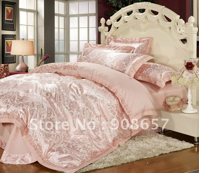 satin fabric Jacquard pink flower pattern quilt/duvet covers sets 4pc for queen comforter sets with flat sheet sheets bed linen