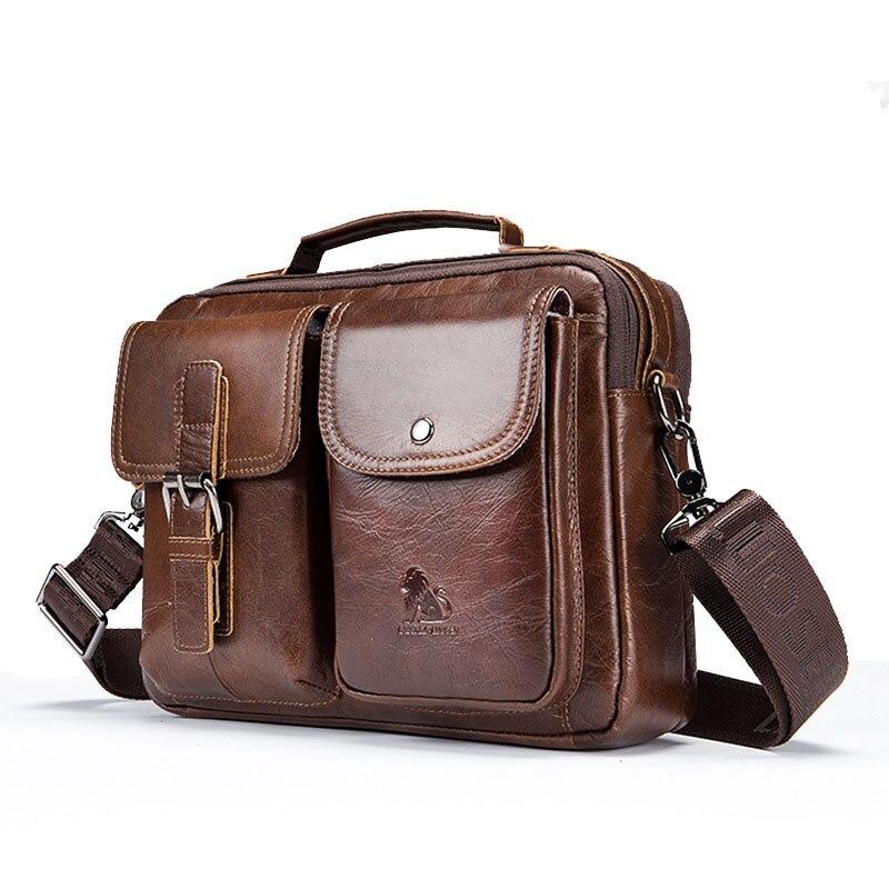 ETONTECK Genuine Leather Men Shoulder Bag Vintage Male Handbags Patchwork Messenger Bags Male Business Crossbody Bag Handtasche