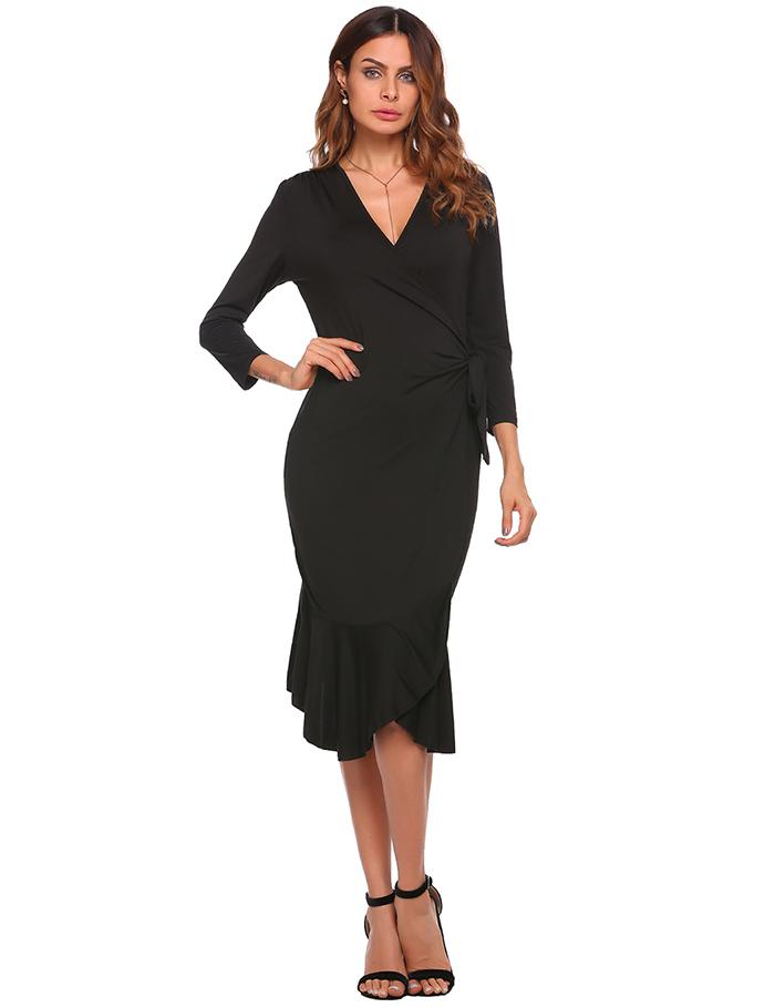 22d0013c0b55 Detail Feedback Questions about ANGVNS Women 3 4 Sleeve Solid V Neck ...