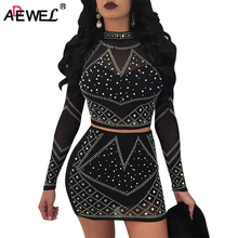 ADEWEL Elegant Studded Long Sleeve Two Piece Skirt Set Women Crop Top Bodycon Sexy Club Dress Suit New Arrival Women Clothing lace up studded long sleeve crop top