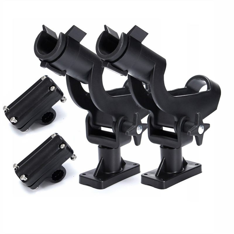Adjustable Rotatable Plastic Fishing Rod 3 Mount Rack Holder Bracket Boat Canoeing Rowing Mount Kit Kayak Side Rod Holder(China)