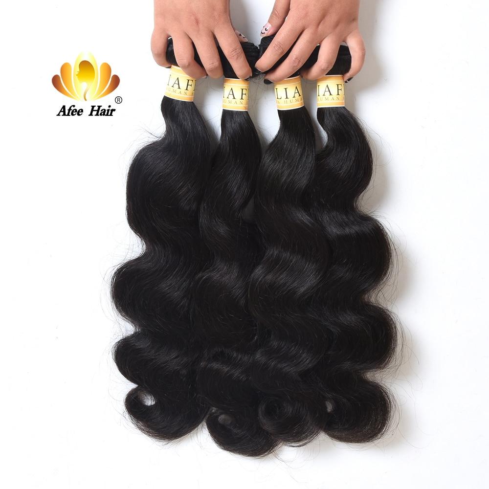 Aliafee Hair Malaysian Hair Weave Bundles Body Wave 4 Bundles Deal Natural Color 8 28 Human