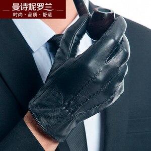 Image 2 - Guanti in pelle di capra uomini touch screen spessore guanti tenere in caldo guanti di camoscio inverno signori telefingers guanti MLZ104