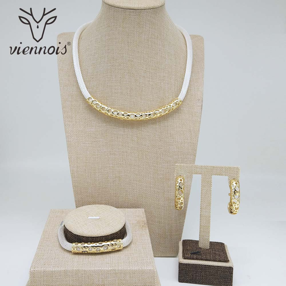 Viennois Jewelry Set Drop Earrings Hollow Chain Necklace Bracelet Mix Color for Women Jewelry Sets NewViennois Jewelry Set Drop Earrings Hollow Chain Necklace Bracelet Mix Color for Women Jewelry Sets New