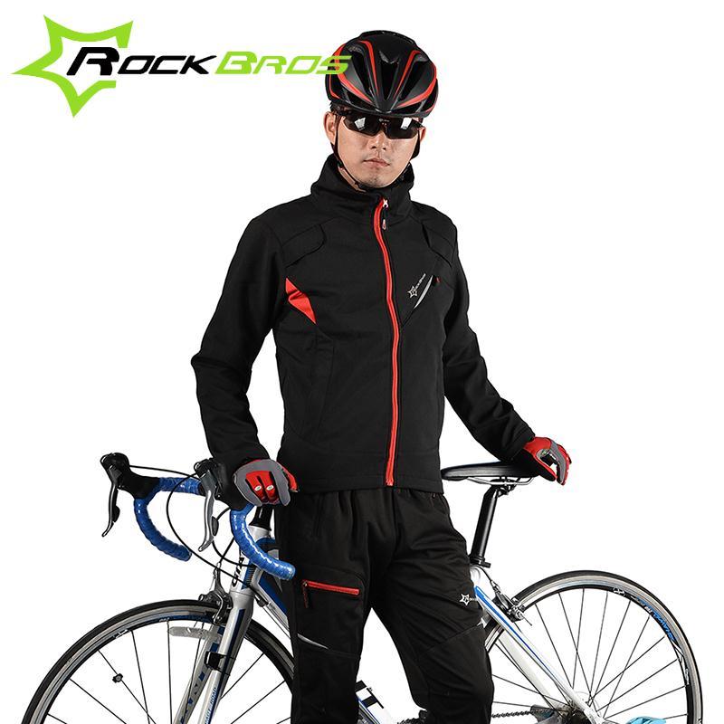 Цена за ROCKBROS Зима Велосипедов Велоспорт Костюмы Thermal Теплый Ветрозащитный Куртка Брюки Bike Наборы Ропа Ciclismo Велоспорт Одежду Светоотражающие