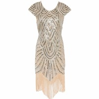 Womens Long 1920s Diamond Sequined Embellished Fringed Great Gatsby Flapper Dress