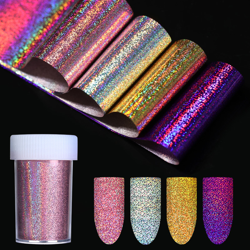 4*120cm Holo Starry Nail Foil Gold Silver Purple Rose Gold Holographic Nail Art Transfer Foil Transfer Laser Sticker Decoration кардиган fly