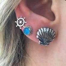 Vintage Bohemia Rudder Shell Stud Earring Crystal Earrings For Women Girls Accessories Jewelry Cерьги женскиеWholesale все цены