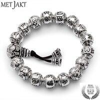 MetJakt Bouddhisme Mantra Bracelet Solide S925 Sterling Argent Bouddha Perles Bracelet pour Unisexe Vintage Bijoux Étirement 19-23 cm