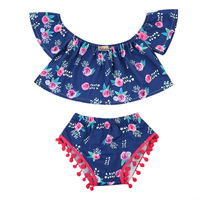 2PCS Pretty Summer Cotton Toddler Infant Baby Girls O-Neck Floral Blue Top Flutter Crop Short Pants Outfits