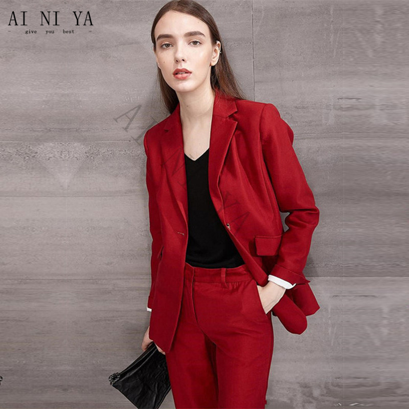 New Dark Red Formal Suits For Women Casual Office Business Suitspants Work Wear Sets Uniform Styles Elegant Pant Suits